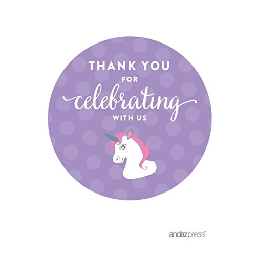 Andaz Press Birthday Round Circle Labels Stickers, Thank You for Celebrating with Us, Unicorn, 40-Pack, for Gifts and Party Favors