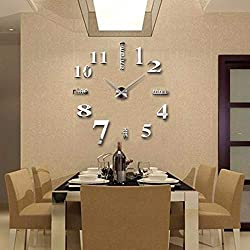 FASHION in THE CITY 3D DIY Mirror Surface Wall Clocks Modern Design Living Room Decorative Wall Watches ... (Silver)