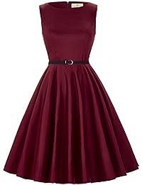 Boatneck Sleeveless Vintage Tea Dress With Belt