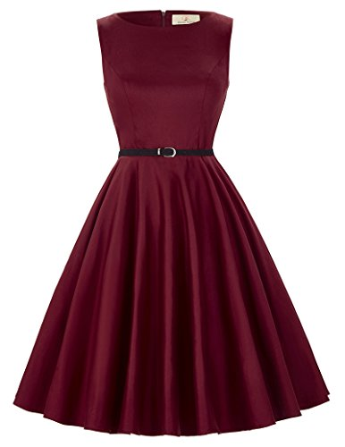 Red Boat Neck 60s Vintage Party Dresses Sleeveless Size S F-49 ()
