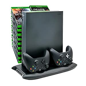Xbox One X Charging Dock and Cooling Fan,Controller Charger, USB Ports and Game Storage Rack - ONLY FOR XBOX ONE X by Fyoung