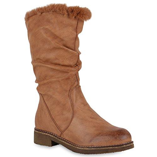 Stiefelparadies Damen Klassische Stiefel mit Blockabsatz Kunstfell Profilsohle Flandell Hellbraun