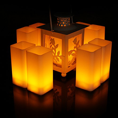 Frestree Romantic Square Flameless LED Candles Battery Operated Flickering Pillar Plastic Candle Yellow Electric Lights for Birthday Wedding Party Halloween Decoration Holders(12pcs,Large Size)