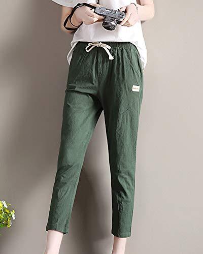 Slim Women Taille Plus Yonglan Green Cord Avec Sarouel Élastique Léger Size Army SwHqw8