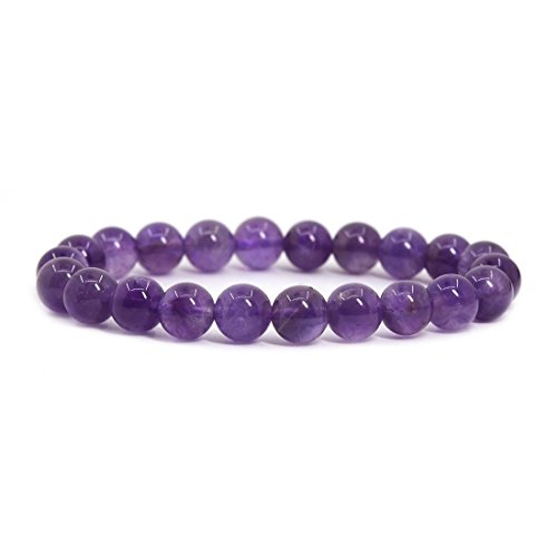Natural A Grade Amethyst Gemstone 8mm Round Beads Stretch Bracelet 7