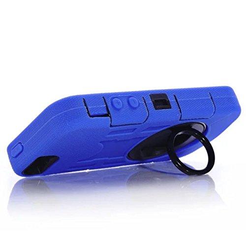 Iphone 5 Coque,Iphone 5S Coque,Iphone SE Coque,Lantier 3 en 1 en caoutchouc dur + Hybrid PC Combo robuste avec Annulaire Béquille Protect pour Apple Iphone 5/5S/SE Bleu