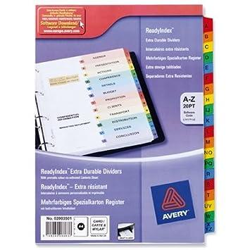 Avery ReadyIndex 01734501 – Separadores para archivador (tamaño A4, pestañas A-Z, 02003501 l7411