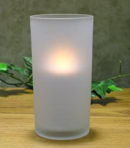 LED Flameless Votive White Frosted Glass Candle Holder Flickering Light Battery Operated