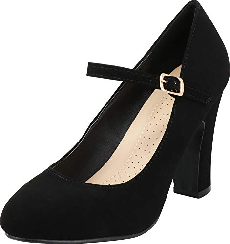 Cambridge Select Women's Mary Jane Chunky Block Heel Pump,10 B(M) US,Black NBPU