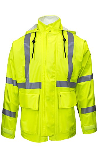 National Safety Apparel R30RL05MD Arc H2O FR Rain Jacket, Class 2, Medium, Fluorescent Yellow by National Safety Apparel Inc