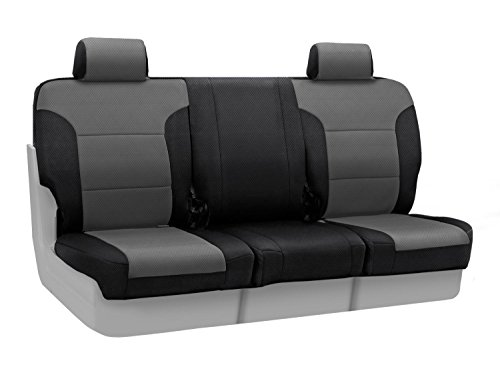 Coverking Custom Fit Front 40/20/40 Bench Seat Cover for Select Lincoln Town Car Models - Spacermesh 2-Tone (Gray with Black Sides) ()