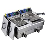 Koval Inc. 20L Dual Tank Stainless Steel Electric Deep Fryer with Drain