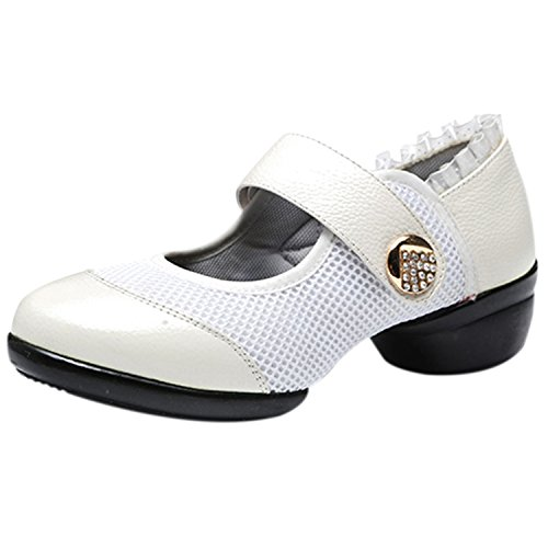 White Oasap Klettverschluss Fashion Damen Tanzschuhe Mary Rund Jane nqq0z8rwO