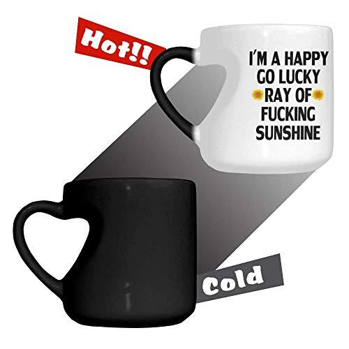12.66 Oz Fashion Heart-Shaped Mug, I'm A Happy Go Lucky Ray Of Fucking Sunshine Mug Heat Reveal Color Ceramic Mug, Novelty Love Heart Coffee Mug