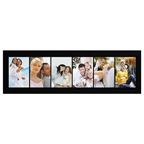 (Adeco PF0167 Decorative Black Wood Wall Hanging Collage Picture Photo Frame, 6 Openings, 4x6 inches)