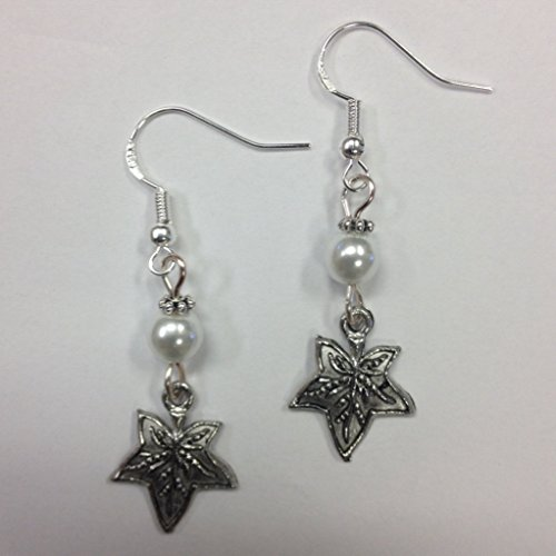 Ivy Leaf Earrings with a white glass pearl accent bead, on sterling silver earwires - Pearl And Glass Bead Earrings