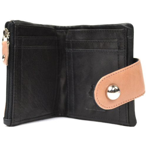 Fastner and Tan Holders Soft Card Fold Ladies Design Purse Over and Note with Coin Leather Attractive OTYqx1