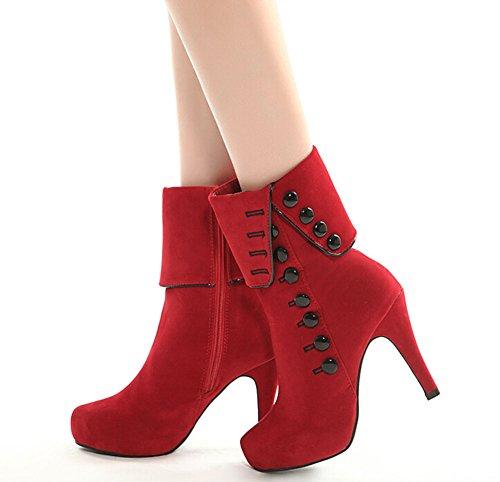 Femme Bottes Bottines Chaussures Fashion Flock Ladies Talons Platform Red Femmes Shoes Automne Rouge 2015 Hiver wqR7z7