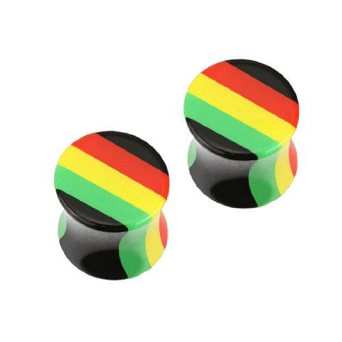 Rasta Single (BodyJ4You Plugs 12mm Acrylic Rasta Flag Double Flare Acrylic Ear Gauges Plugs 1/2 Gauge (2 Pieces))