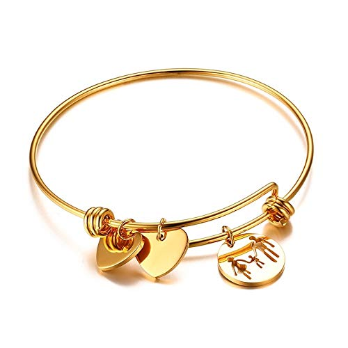 ZHNA Shiny Polished Gold Knotted Forever Love Heart Infinity Cuff Bangle Bridesmaid Adjustable Bracelet Jewelry ()
