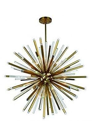 """Elegant Lighting 1141G48 Maxwell 21 Light 48"""" Wide Sputnik Chandelier From the U, Burnished Brass"""