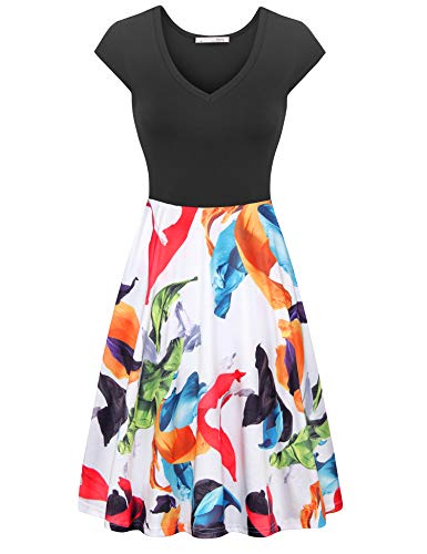 - Messic Women's Summer Sleeveless Dresses Casual Slim Fit and Flare Dress (D07 Orange Floral, Medium)