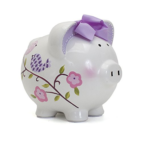 Child to Cherish Ceramic Piggy Bank for Girls, Paper Bird (Girl Piggy Baby Bank)