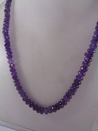 Faceted Amethyst Bead Necklace - 6-7mm Faceted Natural Amethyst Rondelle Beads Necklace, 18 Inches Necklace, February Birthstone Necklace, Birthday Gift, Gift For Her, Christmas Gift