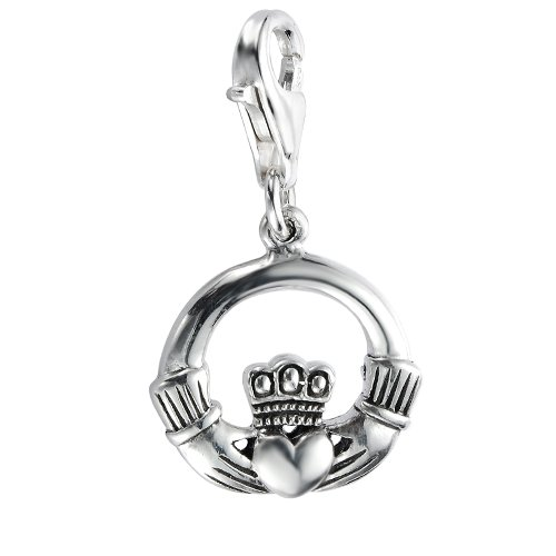 925 Sterling Silver Claddagh Friendship and Love Charm with Lobster Clasp for Charm Bracelet ()