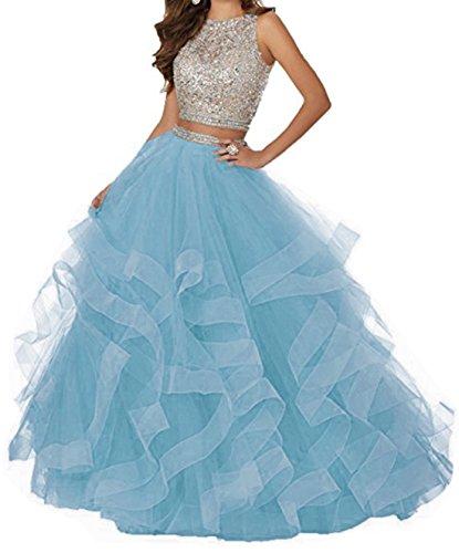 KaBuNi Two Piece Prom Dress Long Beaded Sleeveless Quinceanera Dress Evening Party Sky Blue8