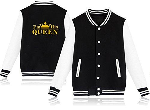 D-Sun King & Queen Crown Matching Couple Jackets Sweaters Sweatshirt Baseball Clothing (Women - Black, XL) -