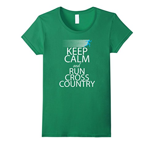 Women's Keep Calm And Run Cross Country Funny Running Shirt Small Kelly Green