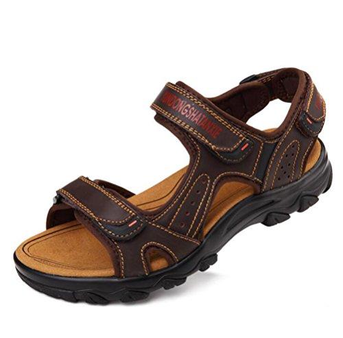 Chaussures Scennek Pcheur Randonne Plage Respirant Loisirs Marron Nouveaux En Cuir De Strap Toe Hommes Sandales wRqYgw