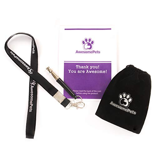 AwesomePets Ultrasonic Sound Training Dog Whistle Used to Control and Stop Barking Pet or Dog, Comes with Lanyard and Adjustable High Pitch Sound Whistle That Can Train Bark of Dogs.
