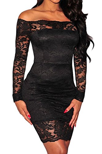 Roswear Clubwear Mini Out V Black1 Women's Hollow Neck Dress Lace HcgqTHZnWr