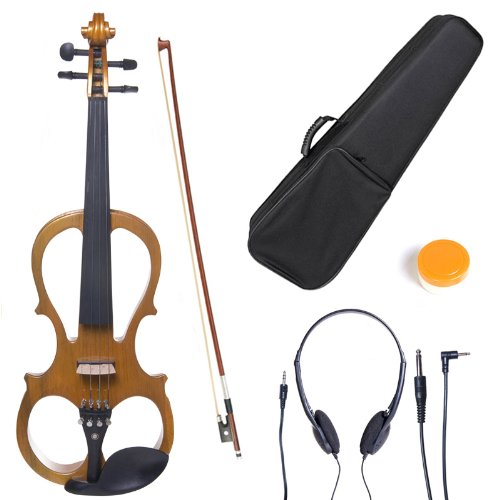 Cecilio L3/4CEVN-L1Y Left-Handed Solid Wood Yellow Maple Metallic Electric Violin with Ebony Fittings in Style 1 by Cecilio