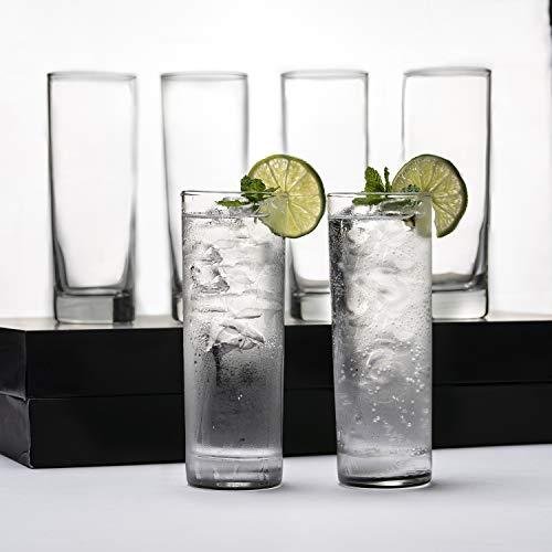 LEMONSODA Premium Highball Glass Set – Elegant Tom Collins Glasses Set of 6 – 12oz Tall Drinking Water Glasses – Bar…