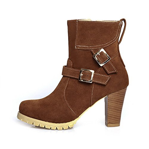 Frosted Womens Brown Zipper Chunky 1TO9 Heels Buckle Boots wpxq1OBAv