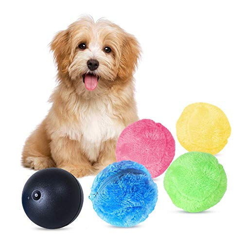 Magic Roller Ball Toy, Dog Cat Pet Toy Automatic Roller Ball Magic Ball (1 Rolling Ball + 4 Color Ball Cover)