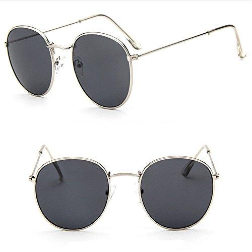 Men Women's Round Sunglasses Vintage Retro Oversized Mirror Glasses - Sunglasses Kong Hong Brand