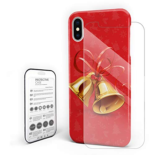 Compatible with iPhone X Case, Hard PC Back Phone Case with Tempered Glass Screen Protector Red Backgroud Bell Shockproof Protective Cover -