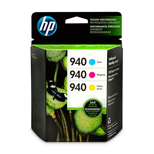 HP 940 Cyan, Magenta & Yellow Ink Cartridges, 3 Cartridges (C4903AN, C4904AN, C4905AN)