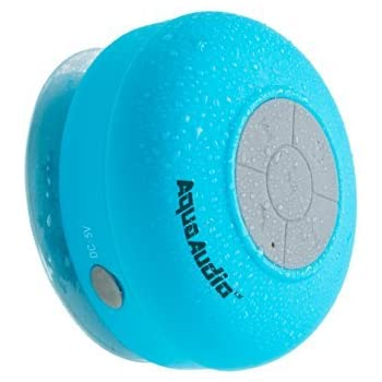 AquaAudio Mini Ultra Portable Waterproof Bluetooth Wireless Stereo Speakers with Suction Cup for Showers, Bathroom, Pool, Boat, Car, Beach, Outdoor etc. | For All Devices with Bluetooth Capability Siri Compatible - 6 Hours Playtime / with Built-in Mic for use as a Powerful Handsfree Speakerphone (Blue)