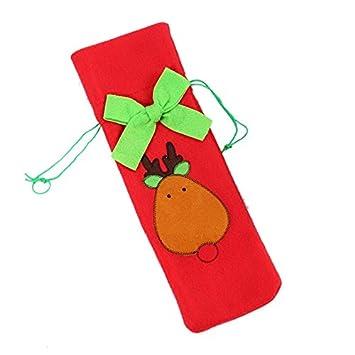 Unicoco bottiglia di vino di Babbo Natale Decorazioni tavola di Natale borsa porta bottiglie di vino rosso decorazione, Flanella, Red, 36