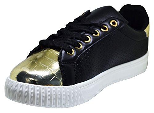 Qupid Picton-02 Donna Allacciatura Sneaker Super Glam Nera