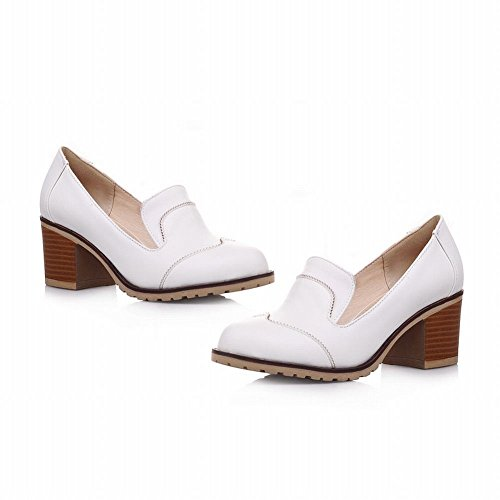 Slip White Chunky on Mid Heels Latasa Shoes Womens Loafers Casual W1qnzxxpf