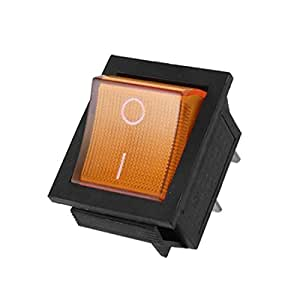 uxcell® Orange Light 4 Pin DPST ON/OFF Snap in Boat Rocker Switch 15A 250V AC 29x21mm