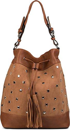 styleBREAKER bolso de cubo XL, bolsa con aplicación de estrella con remaches y borlas, bolso para compras, bolso de bandolera, bolso de mano, bolso, señora 02012187, color:Marrón Avellana