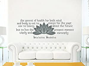 Wall Decals Quotes Buddha Quote   The Secret Of Health   Lotus Mandala Om  Namaste Wall Vinyl Decal Stickers Bedroom Murals