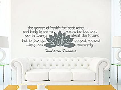 Wall Decals Quotes Buddha Quote   The Secret Of Health   Lotus Mandala Om  Namaste Wall